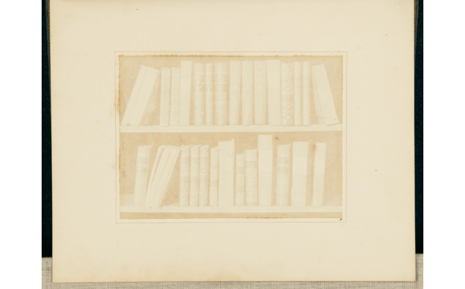 William Henry Fox Talbot (English, 1800 - 1877) A Scene in a Library, 1844, Salted paper print 13.1 × 17.8 cm (5 3/16 × 7 in.) The J. Paul Getty Museum, Los Angeles